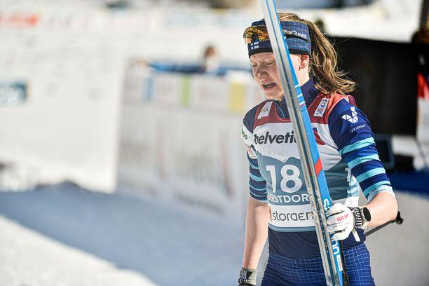 Johanna Matintalon maailmancupin päätöskisaa väritti sauvarikko.