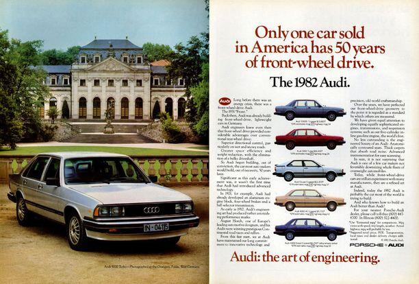 Audi 5000 -auton mainos vuodelta 1982.