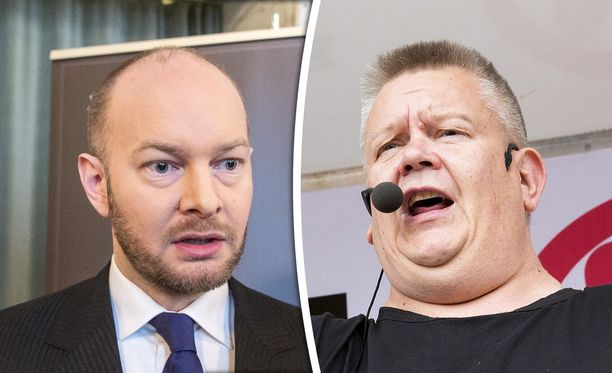 Ministeri Sampo Terhon (vasemmalla) vertaus loukkasi huutokauppakeisarina tunnettua Aki Palsanmäkeä.