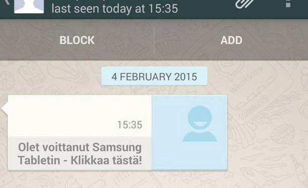 Lukijan kuva WhatsApp-huijauviestistä.