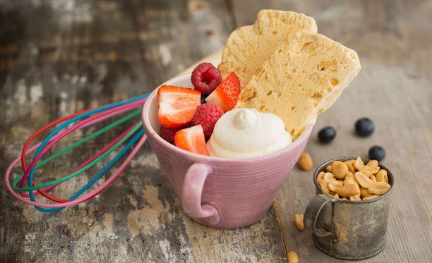 Suolapähkinä ja kinuski ovat loistava yhdistelmä.