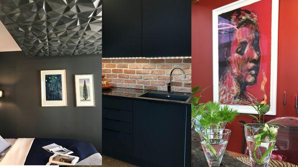 Kodissa on rohkeita värejä, materiaaleja ja muotoja.