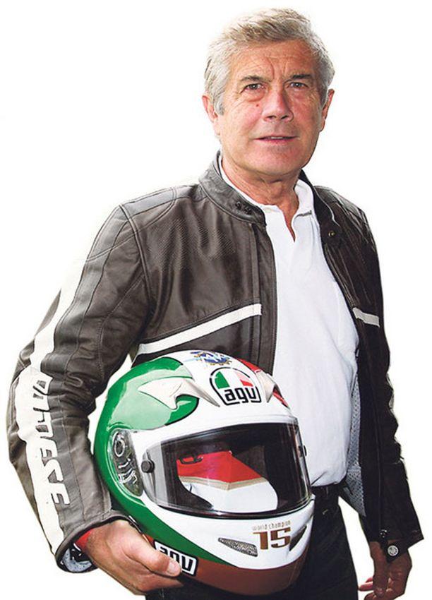 SUOMI-FANI. Giacomo Agostini voitti 1960–70-luvuilla 15 ratamoottoripyöräilyn maailman-mestaruutta. Osakilpailuja ajettiin silloin myös Suomessa Imatralla.