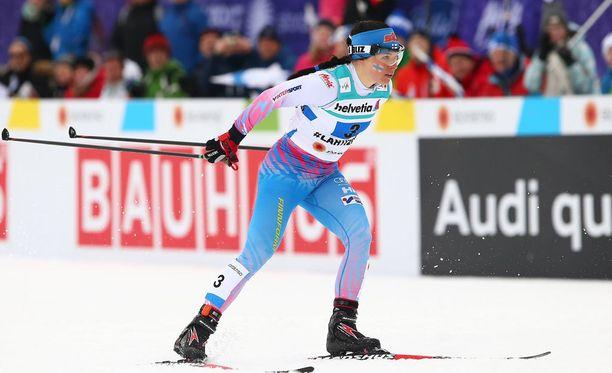 Krista Pärmäkoski voitti 30 kilometrin vapaan SM-kultaa. Kuva Lahden MM-kisoista.
