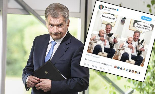 Tasavallan presidentti Sauli Niinistö kertoi koskettavan syyn Aaro-pojan kuvan julkaisemiselle.