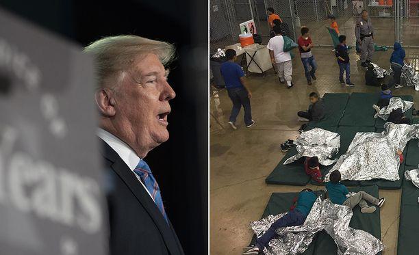 Yhdysvallat on päättänyt jättää YK:n ihmisoikeusneuvoston. Päätöksen alla maan päätös erottaa siirtolaislapset jo rajalla vanhemmistaan on herättänyt kiivasta kritiikkiä. Kuvassa oikealla säilöönottokeskus Texasissa.