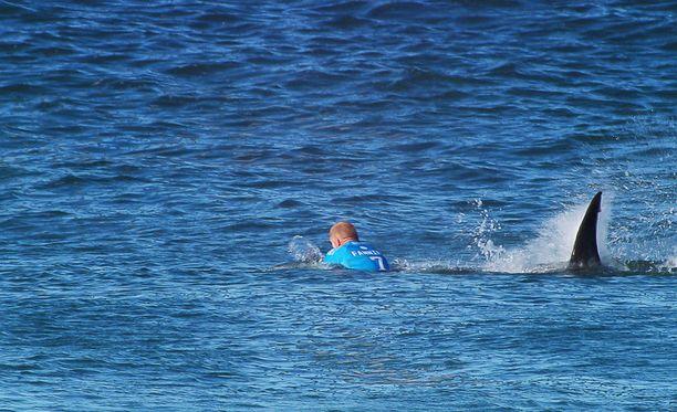 Hai hyökkäsi Mick Fanningin kimppuun, kun australialainen odotteli aaltoa.