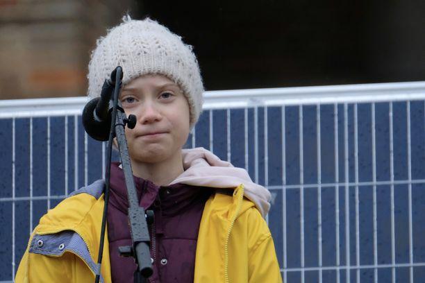 Greta Thunberg puhui helmikuun lopulla Ison-Britannian Bristolissa.