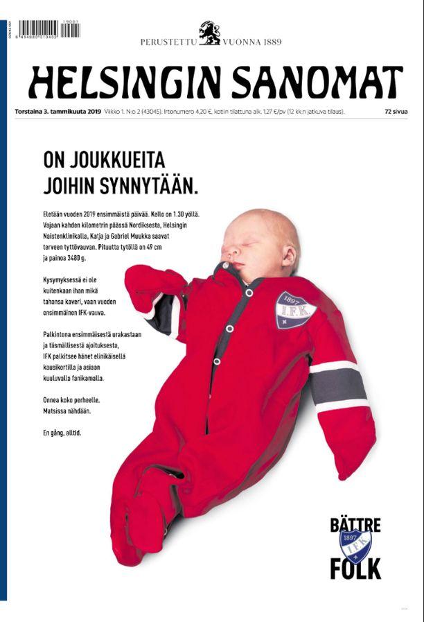 Helsingin Sanomien kansikuva keräsi ihastelua HIFK:n kannattajien keskuudessa sosiaalisessa mediassa torstaina.