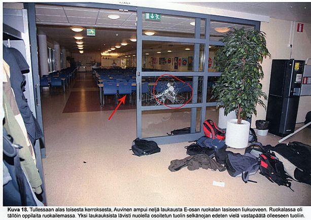 Tiina Lappalainen pelasti opiskelijoita ampujalta koulun ruokasalissa. Kuva on poliisin esitutkintamateriaalista.