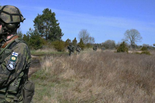 HUNTin viimeisenä harjoituspäivänä suomalaisreserviläiset siirtyivät metsään.
