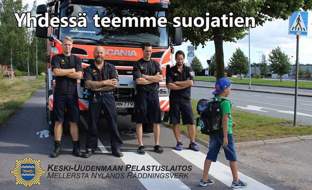 Keski-Uudenmaan pelastuslaitos halusi kuvalla muistuttaa suojateiden tärkeydestä.