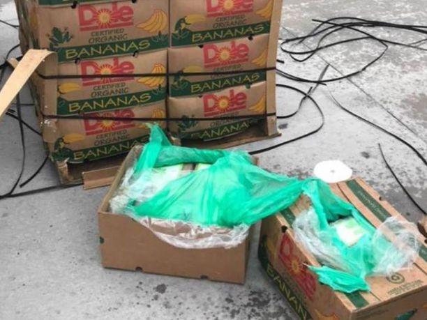 Banaanilaatikoihin oli piilotettu valtava määrä huumeita.