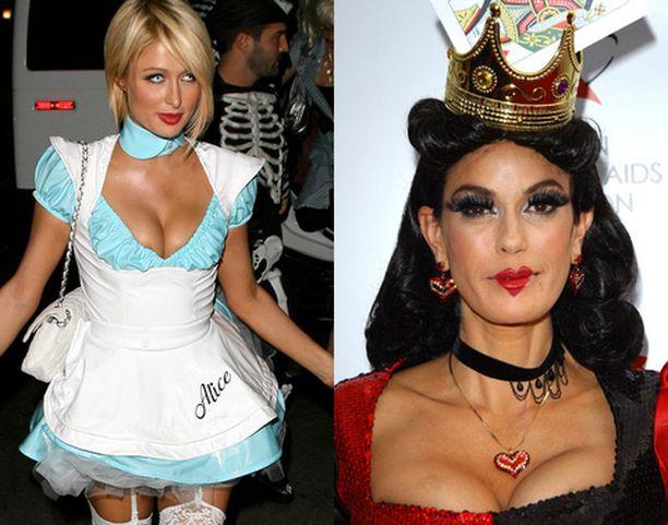 Pvc-asuinen Paris Hilton juhli Halloweenia Playboy-kartanossa. Teri Hatcher oli ottanut asuunsa inspiraatiota Liisa Ihmemaassa -sadusta.