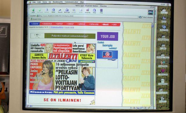 Iltalehti.fi näytti tältä vuonna 2000.