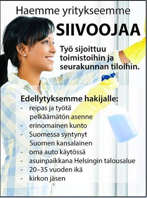 Etelä-Suomen aluehallintavirasto julkaisi keksityn esimerkin syrjivästä työpaikkailmoituksesta. Työnhakijaa ei saa syrjiä esimerkiksi iän ja kansalaisuuden vuoksi.