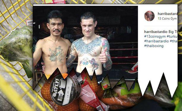 Thainyrkkeilyn maailmanmestari Harri Nieminen on vegaani. Nieminen kuvassa oikealla.