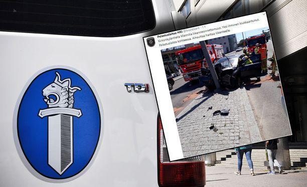 Pelastuslaitos auttoi vakavasti loukkaantuneen henkilöautoilijan sairaalahoitoon Malmilta. Kuvituskuva.