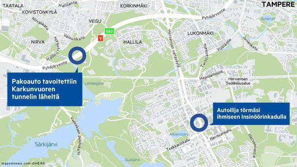 Päälleajo tapahtui Tampereen Hervannassa.