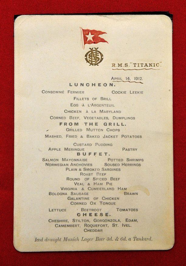 Muistuttaako lounas nykyistä risteilylounasta? Klikkaa kuva suuremmaksi ja tutustu koko listaan!