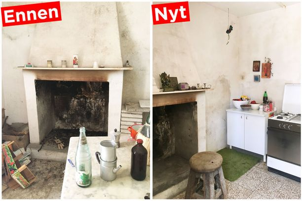 Naapurit lahjoittivat Lymeille oman keittiöremonttinsa alta kaappeja ja vanhan kaasuhellan. Nuohoojakin kävi ja totesi avotakan ihan käyttökelpoiseksi.