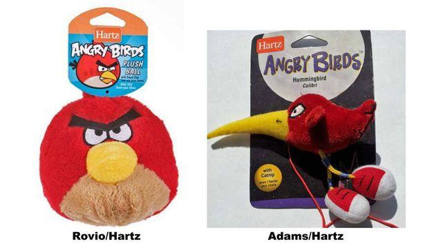 Hartzin valmistamat Rovion vihainen lintu ja Juli Adamsin piirtämä lintu.