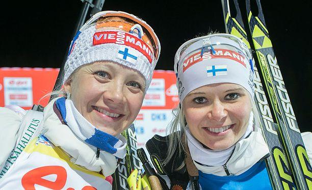 Kaisa Mäkäräinen ja Mari Laukkanen osallistuvat Venlojen viestiin.