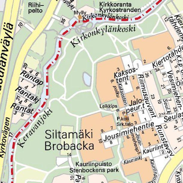 Rata rakennetaan jokivarteen Siltamäen aluepuistoon.