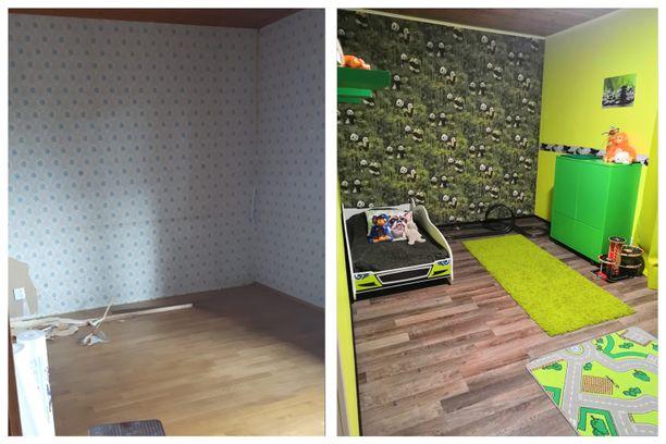Lastenhuoneet saivat osalleen kunnon pintaremonttia. Kristianin huone toimii poikien leikkihuoneena ja siellä on pojan räikeän vihreä lempiväri edustettuna.