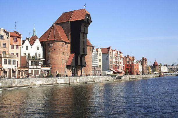 Keskiaikainen vanha nosturi, Stary Zuraw, on yksi Gdanskin kuvatuimmista kohteista.