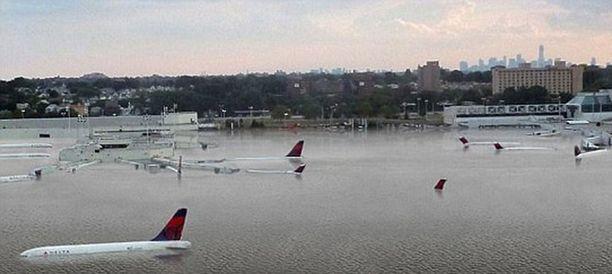 Taiteilijan näkemys siitä, miltä LaGuardian lentokenttä voisi näyttää, jos meren pinta nousee.