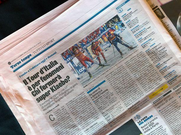 La Gazzetta dello Sportin paperiversiossa oli tiistaina yksi pieni juttu hiihdon Tour de Skistä.