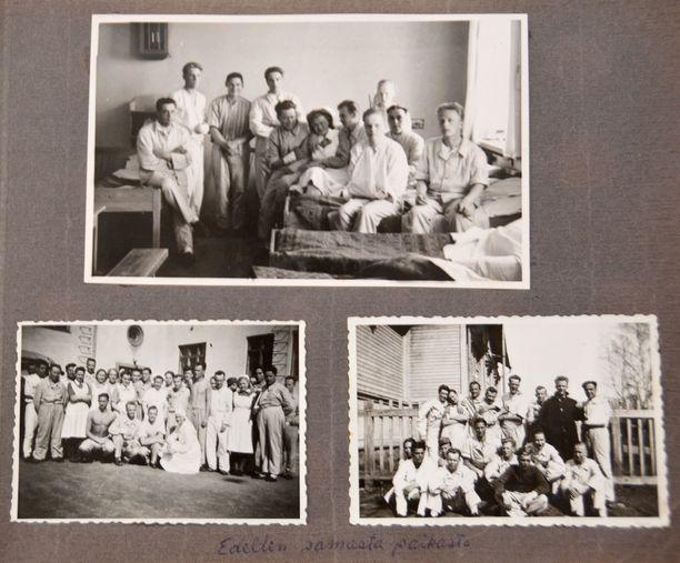 Huhtikuussa 1944 tarkka-ampujan luodista haavoittuneen Osmo Uusi-Pietilän valokuva-albumista löytyy muistoja myös sotasairaalassa Raumalla vietetystä ajasta.