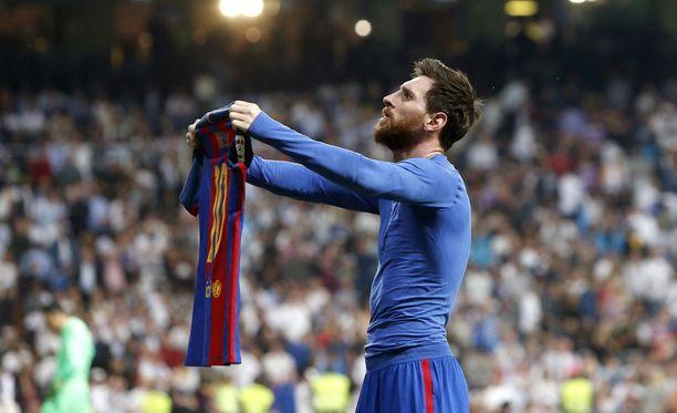 Näin Messi tuuletti Real Madridin kotistadionilla huhtikuussa.