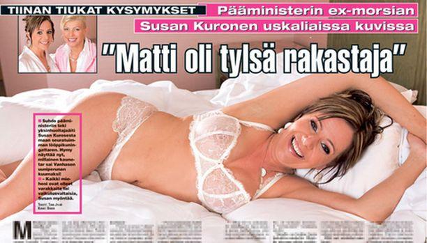 Susan Kuronen poseeraa tässä Hymy-lehden aukeamalla alusasuissa. Mukana on myös rohkeampia otoksia.