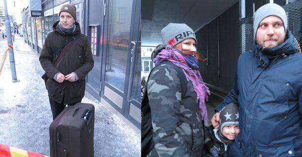 Osin palaneessa talossa asuvat Ville Timola ja Puran perhe kävivät asunnoissaan hakemassa tavaroita tiistaina illalla.