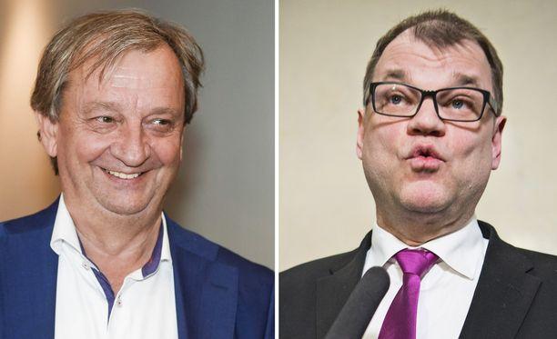"""Harry Harkimo ja Juha Sipilä ovat naapureita Sipoossa. Harkimo kertoo kirjassaan toimineensa hallituksessa """"välittäjähahmona"""" ja kutsuneensa Sipilän ja Petteri Orpon (kok) kotiinsa syömään rapuja ja tutustumaan toisiinsa."""