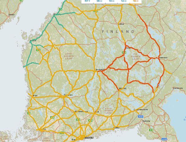 Kello 18 ajokeli on tällainen. Punaisella merkityillä alueilla on erittäin huono ajokeli, keltaisella huono ja vihreallä normaali.