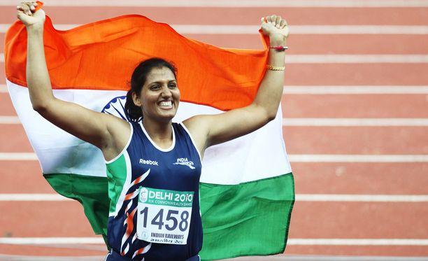 Krishna Poonia voitti kultaa vuoden 2010 Kansainyhteisön kisoissa Delhissä.