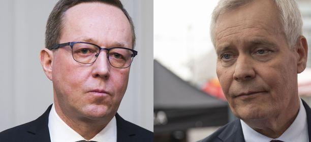 Valtiovarainministeri Mika Lintilä (kesk) ja pääministeri Antti Rinne (sd).