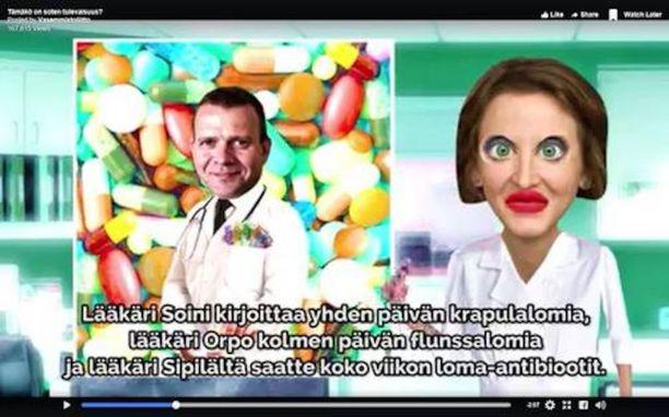 """""""Lääkäri Orpo"""" kirjoittaa vasemmistoliiton kampanjavideossa kolmen päivän flunssalomia. Orpo sanoo, ettei hän osaa antaa videolle """"kauheasti painoa eikä arvoa""""."""