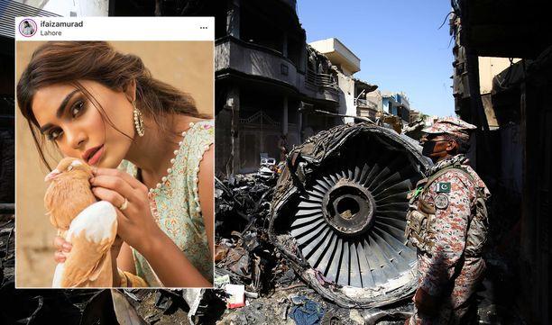 Airbus A320  putosi Karachissa osittain kerrostalojen päälle. Turmassa kuoli muun muassa huippumalli Zara Abid.