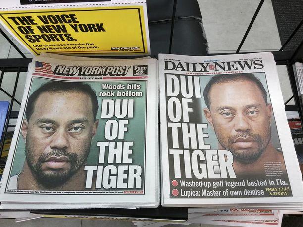 Lehdet revittelivät Tiger Woodsin pidätyskuvalla.