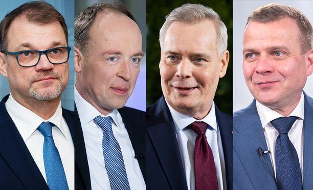 Suurimman puolueen paikasta kisasivat keskusta, perussuomalaiset, SDP ja kokoomus, puheenjohtajiensa Juha Sipilän (vas.), Jussi Halla-ahon, Antti Rinteen ja Petteri Orpon vetäminä .