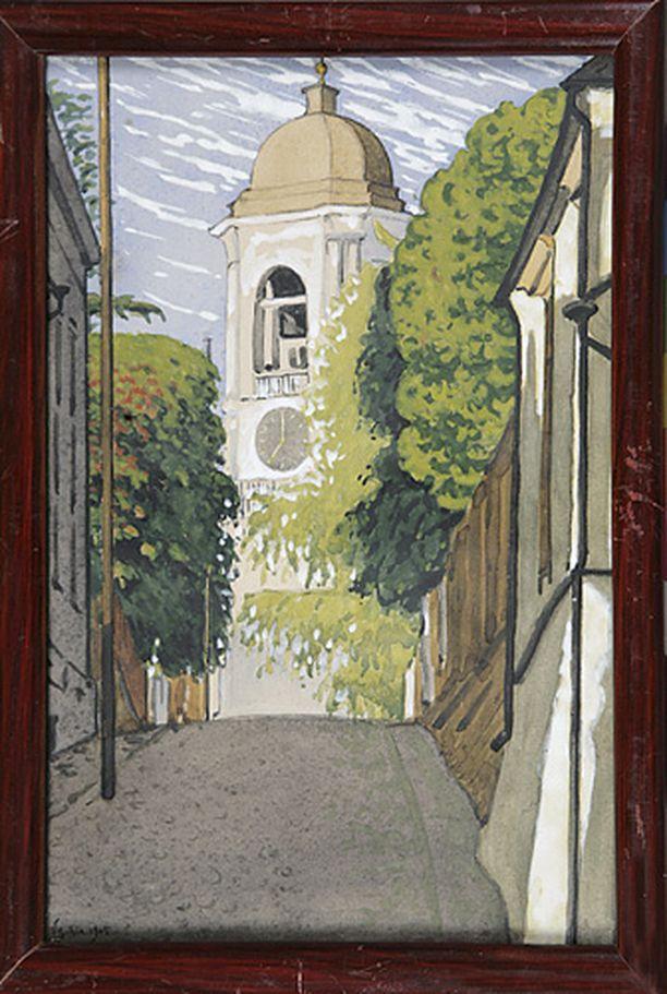 Viktor Svaetichin akvarelli vuodelta 190 esittää katunäkymää Viipurista. Ylöspäin kohoava Vesiportinkatu, jonka päässä on entisen tuomiokirkon kellotorni puiden lehvistöjen ympäröimänä.