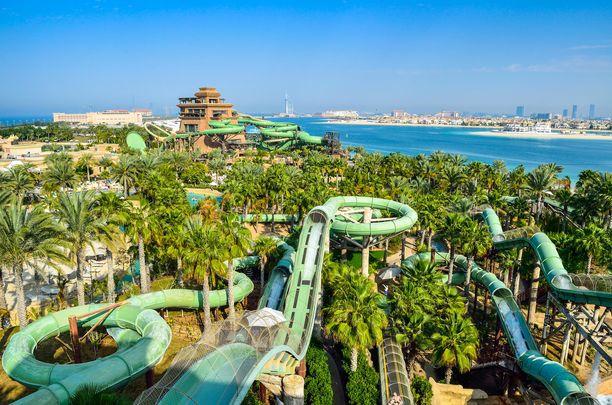 Dubain suurin vesipuisto Aquaventure Waterpark.