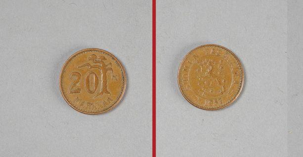 Vuonna 1957 lyöty kolikko näyttää tällaiselta kruuna- ja klaavapuolilta.