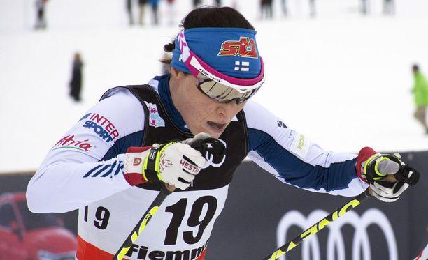 Aino-Kaisa Saarinen oli kahdestoista lauantaina Tour de Skin etapilla Val di Fiemmessä.