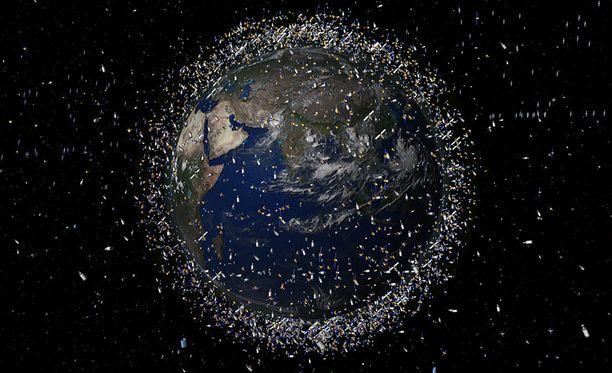 Maata kiertää noin 22 000 havaittavissa olevaa kappaletta. Kuvan pisteet eivät ole mittakaavassa.