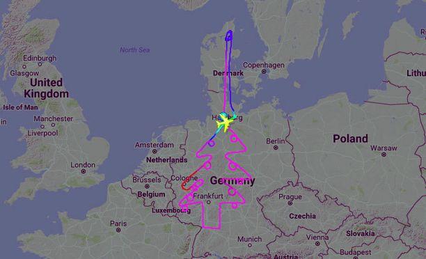 Testilento muodosti jouluisen kuvion Saksan ylle.
